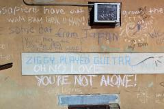 David Bowie Chalk Wall to Mr. Rodebaugh and Ms. Thompson of Webster Groves, MO (063)